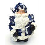 "1256553B - 6"" Resin Royal Blue Glitter Santa Statue Holding Book"