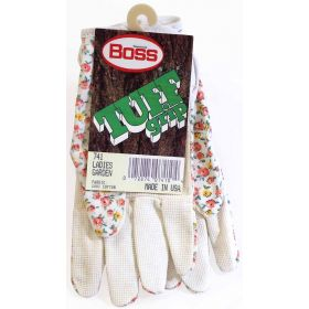 741 - Boss Tuff Grip Ladies Cotton Garden Gloves With Textured Grip On Palm (1 Pair)