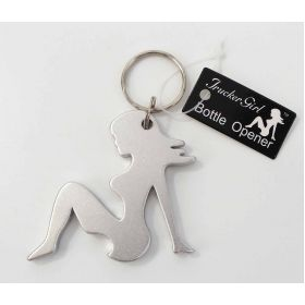 TG101-S - Trucker Girl Bottle Opener Keychain (Silver)