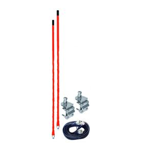 AUMM24-R - 4' Red Dual CB Antenna Kit With Mounts