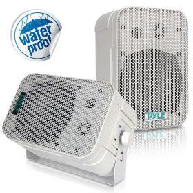 """PYLE - PDWR40-W 5-1/4"""" 400 Watt Indoor Or Outdoor Waterproof Boxed Speaker Pair - In White"""