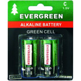 EBC - Evergreen Alkaline 2 Pack C Cell Batteries In Display Package
