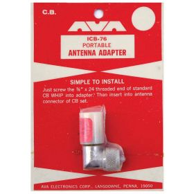 "ICB76 - Portable Cb Antenna Adapter-Accepts 3/8""X24"" Thread"