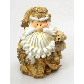"1256523D - 8"" Curly Beard Golden Resin Santa Statue With Bear"