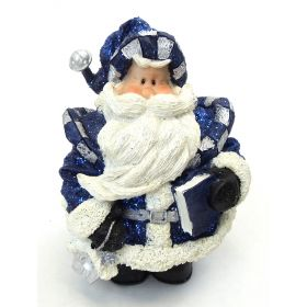 "1256553B - 6"" Resin Royal Blue Glitter Santa Statue Holding Book"