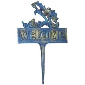 "1257228 - 14"" Tall Blue & Gold Cast Iron Welcome Sign"