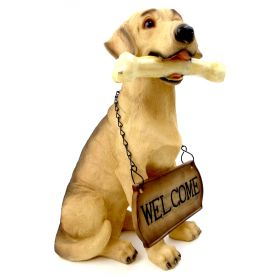 """1256803GOLDRETR - 15"""" Resin Golden Retriever With Welcome Sign Statue"""